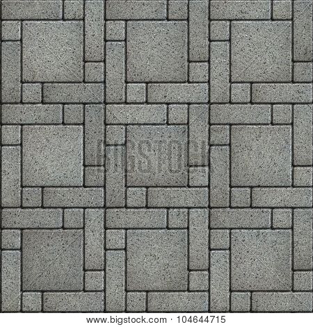 Gray Paving Slabs in the form of big Square with Small Quadrate Corners and Rectangles.