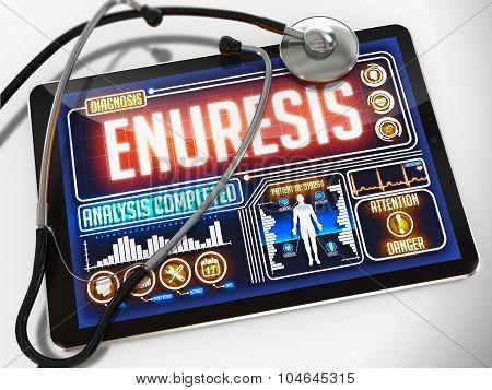 Enuresis on the Display of Medical Tablet.