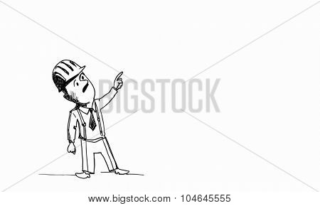 Caricature of builder man in helmet on white background