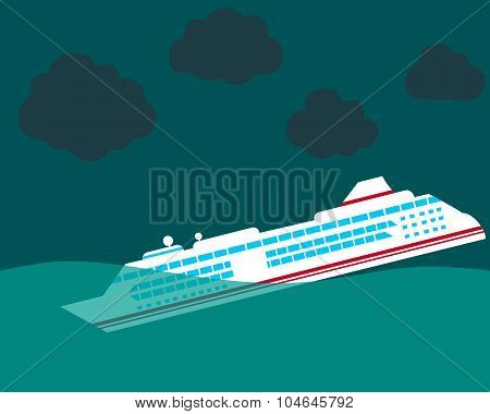 Shipwreck. Cruise ship sinking in the ocean. Vector illustration