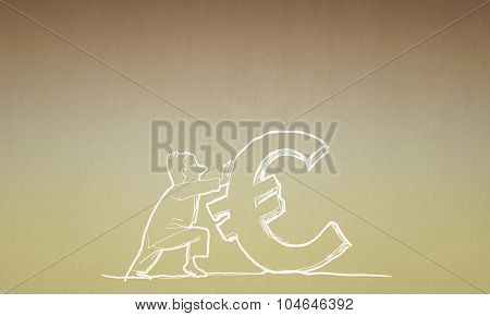 Caricature of funny businessman pulling euro sign