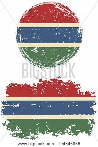 Gambian round and square grunge flags. Vector illustration.