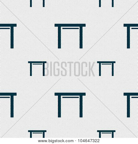 Stool Seat Icon Sign. Seamless Pattern With Geometric Texture. Vector