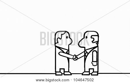 Cartoon image of two businessmen shaking hands