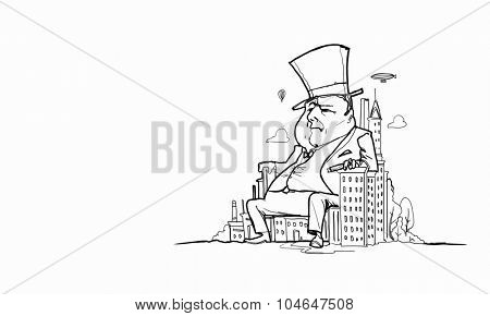 Caricature of funny banker man on white background