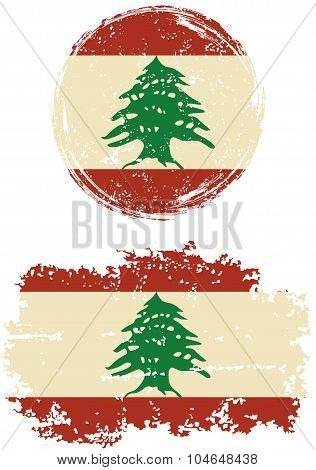 Lebanese round and square grunge flags. Vector illustration.