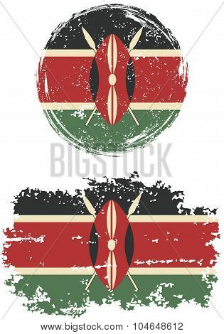 Kenyan round and square grunge flags. Vector illustration.