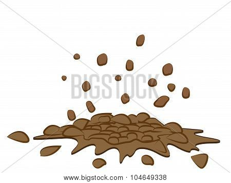 Pile Of Smashed  Ground, Heap Of Soil - Vector Illustration Isolated On White Background.