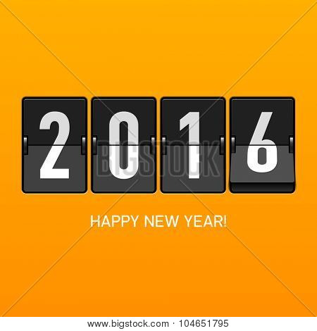 Happy New Year 2016 card, split flap display. Vector.