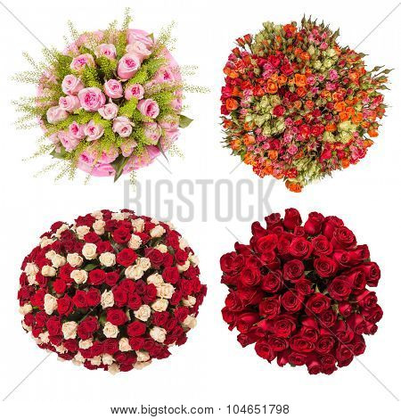 Top view of four colorful flower bouquets.