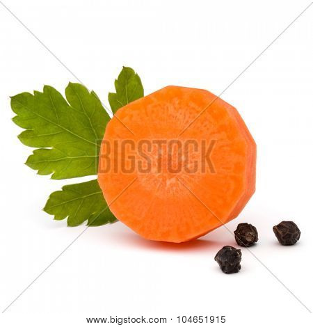 Chopped carrot slice and parsley herb leaves still life isolated on white background cutout