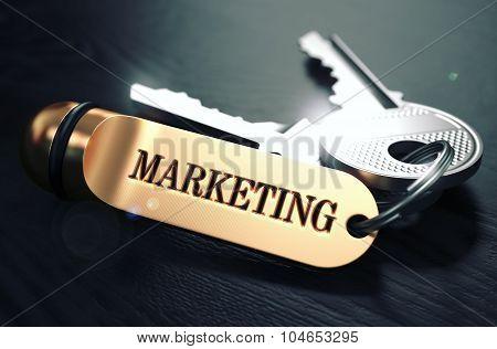 Marketing written on Golden Keyring.