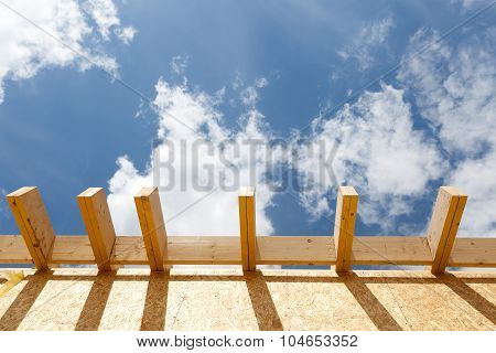 Detail of new roof on house under construction