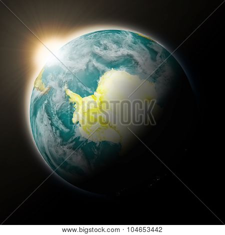 Sun Over Antarctica On Planet Earth