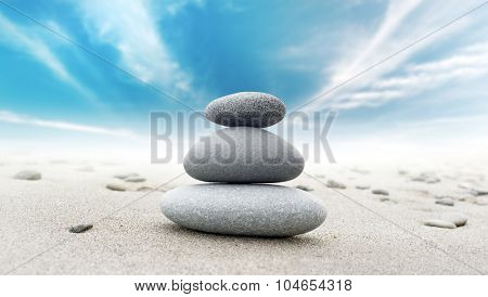 Calm zen meditate background with rock pyramid