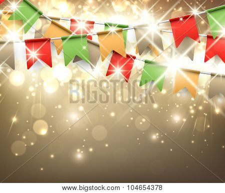 Festive background with colour flags. Vector illustration.