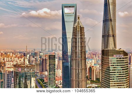 Shanghai, China- May, 24, 2015: Beautiful Skyscrapers, City Building Of Pudong, Shanghai, China.