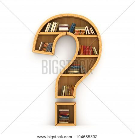 Have A Question. Concept Of Faq. Bookshelf Full Of Book In Form Of Question Sign On A White Backgro