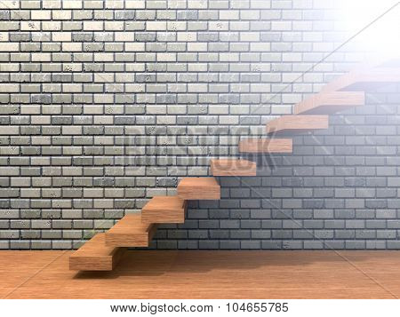 Concept or conceptual brown wood or wooden stair or steps near a brick wall background on  floor