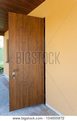 New metal front door of a home