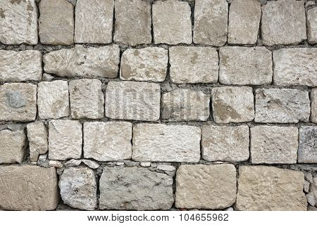 Old Rough Uneven Bumpy  White Stonewall Background