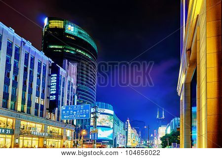 Shanghai, China - May 23, 2015:beautiful View Of Shanghai Street Nanjing Lu. Shanghai Street Nanjing