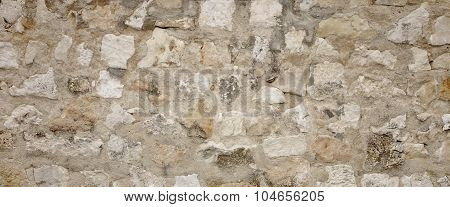 Old Granite Stone Wall With Cement Seam, Stonework Wide Background