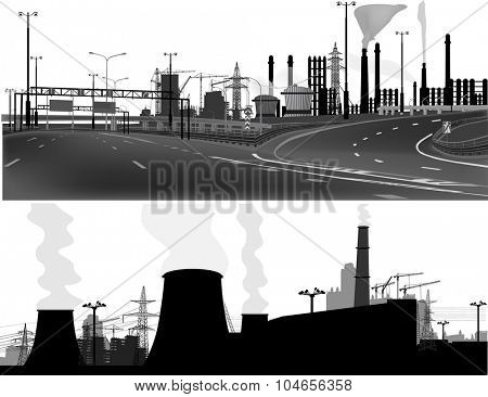 illustration with industrial building and cranes