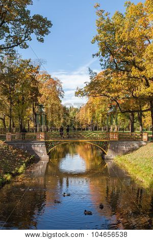 Small Chinese bridge in the Alexander Park of Tsarskoye Selo, near Saint Petersburg