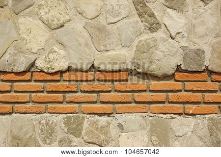 Decorative Modern White Stonewall With Red Bricklaying Background