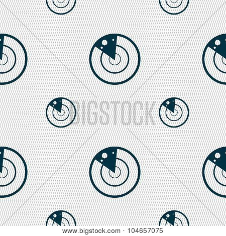 Radar Icon Sign. Seamless Pattern With Geometric Texture. Vector