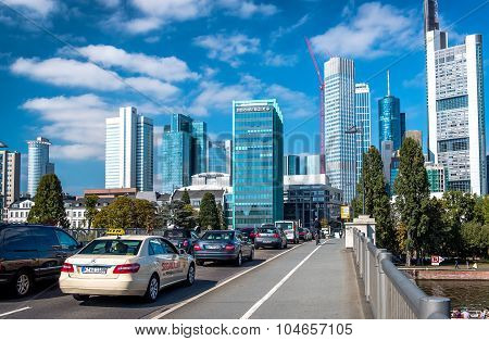 Rush Hours In Frankfurt Am Main City. Germany