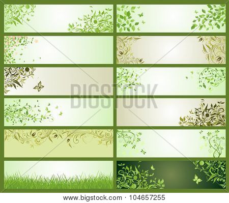 Spring green decorative floral banners
