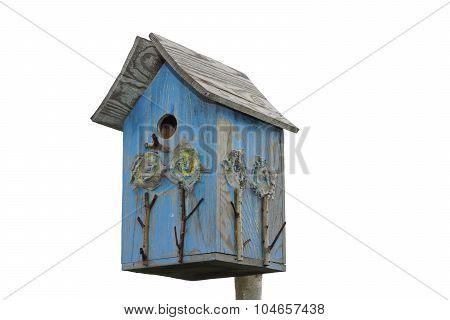 Handmade Blue Birdhouse Isolated On White