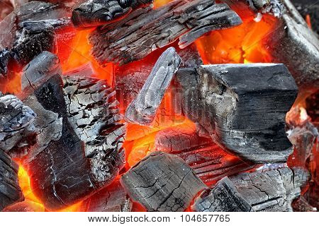Glowing Hot Charcoal Background Texture