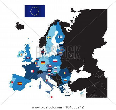 European Union map with flags