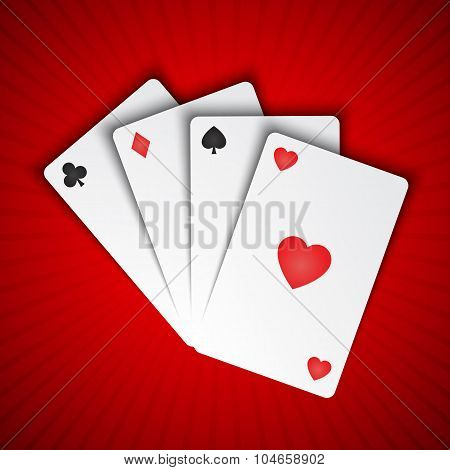 Playing cards on red background