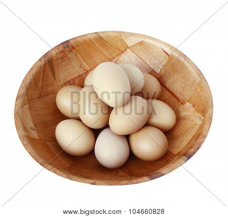 Bowl of eggs on plain white background