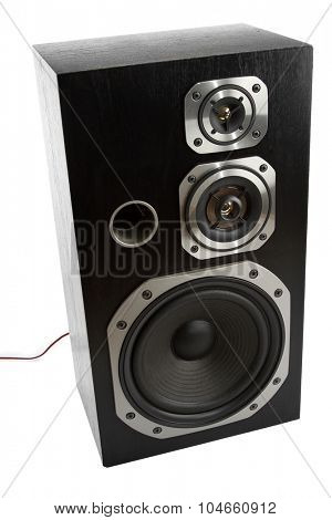 Stereo speaker on plain background