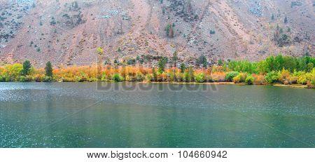 Autumn trees at mountain lakes in eastern Sierra mountains