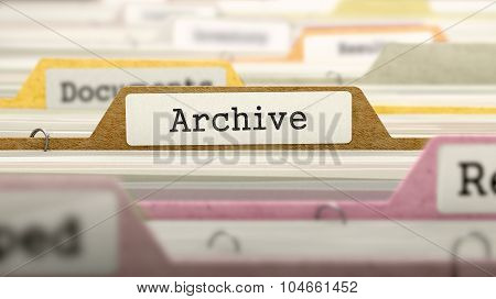 Archive Concept on File Label.