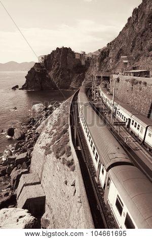 Italy. Cinque Terre. Train At Station Manarola. In Sepia Toned. Retro Style