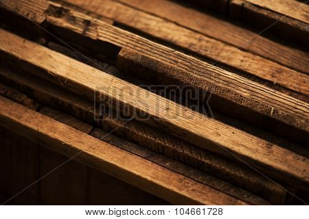 Old wood boards cross section background. Shallow depth of field.