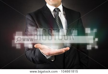 Businessman with web page concept
