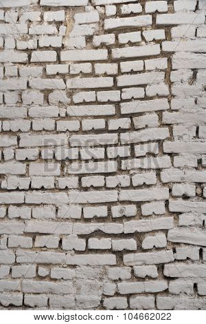 White Grunge Old Brick Wall Vertical Background Texture