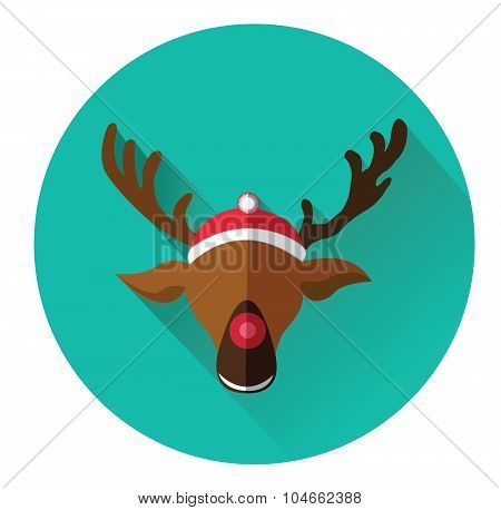 Modern flat icon of red nosed reindeer