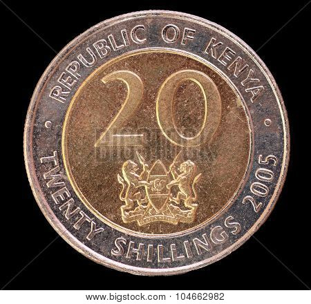 Tail Of A 20 Shilling Coin, Issued By Kenya In 2005
