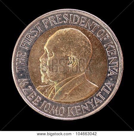 Head Of A 20 Shilling Coin, Issued By Kenya In 2005, Depicting The Portrait Of The First President