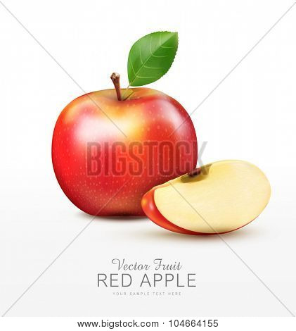 vector ruddy apple with apple slices, isolated on a white background
