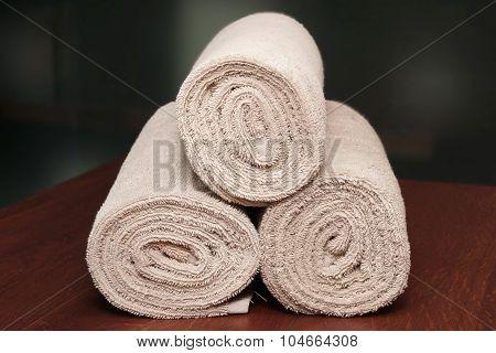 Three Bath Towels On The Spa  Reception Desk